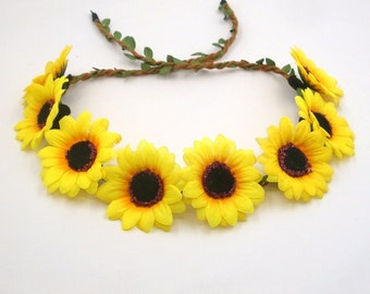 Sunflower Crown,Sunflower Headband,Yellow Flower Crown Headband,Sunflower Halo,Girls,Women,Adult,Wedding Bridal Bridesmaids Hair Accessories