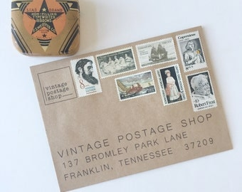 Curated Set of Unused Vintage Stamps in Whites/Neutrals - Post 5 First Class Letters