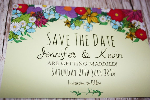 Summer Flowers Personalised WEDDING Save The Date PRINTABLE - Pdf - Digital File