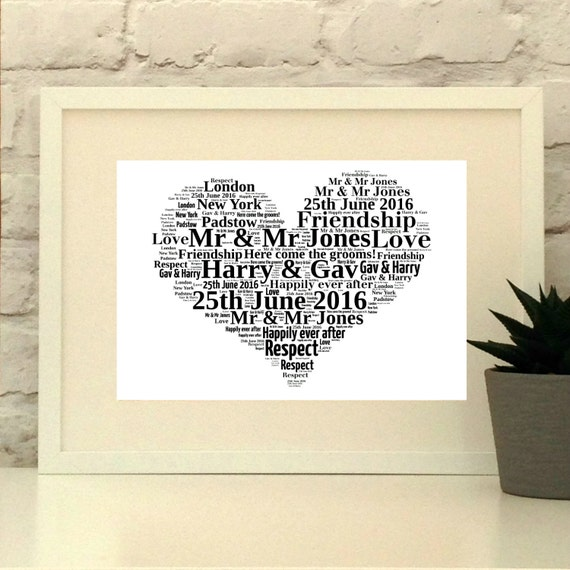 Heart Gay Wedding Gift- Personalised Print - Wedding or First ...