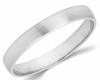 10K Solid White Gold 3mm Brush Finish Wedding Band Ring