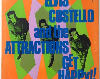Elvis Costello and The Attractions Get Happy!!  LP Vinyl Record, Columbia - JC 36347, Pop Rock, New Wave, 1980, Original Pressing