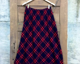 Vintage Red and Black Plaid A Line Midi Skirt size Large
