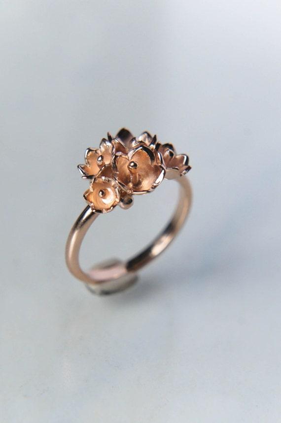 Romantic Engagement Ring Flower Engagement Ring 14k Rose
