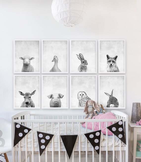 Eight baby animal prints woodland nursery art girls nursery for Disney wall stencils for painting kids rooms