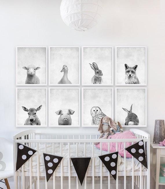 Eight baby animal prints woodland nursery art girls nursery for Disney wall stencils for painting kids rooms