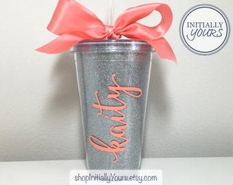 Glitter Tumbler, Personalized Sparkle Tumbler, Personalized Glitter Cup, Custom Glitter Tumbler, Personalized Gift