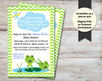 Frogs Baby Shower Invitation, Lily pad Baby Shower Invitations, Hopping with Joy, Frog Shower Invitation, Frogs, Digital File or Printed