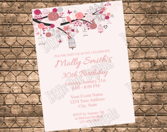 Personalized Pink Floral Bird Cage Birthday Party Invitation - Digital File or Printed Copies - Adult Party Invitation -5x7 or 4x6
