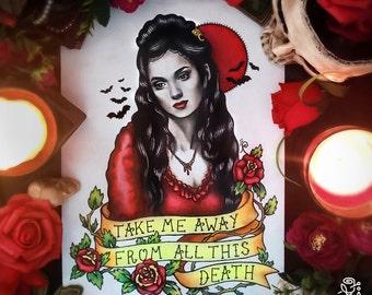 Original painting and prints! Bram Stoker's Dracula Tattoo Flash, Mina Harker