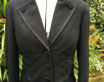 Vintage Wool Jacket, Gothic Black Jacket, Victorian, Steampunk,  Tailored Jacket