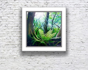 Printed reproduction artwork, canvas or paper print of forest scene, 'WOODLAND FERN'