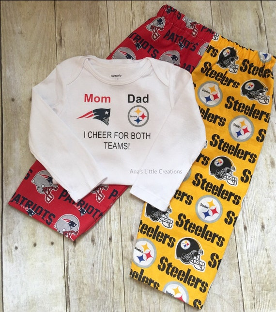 Custom House Divided Bodysuit ( Patriots - Steelers) I Cheer For Both Teams and Pants or Shorts 2pc Set