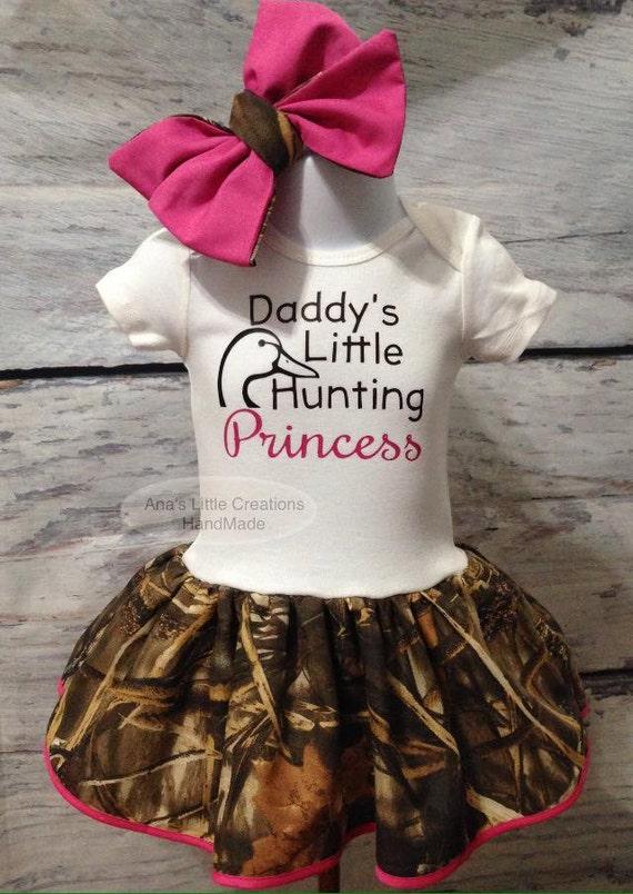 Camo Bodysuit Dress, Camo Baby Dress, Camo Duck Baby Dress Daddy's Little Hunting Princess and Self Tied Headwrap/Headband Set, Duck Hunter