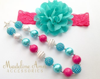Hot Pink Aqua Baby Necklace, Girls Bubblegum Necklace, Pink Toddler Necklace, Girls Cake Smash, Chunky Bead Necklace, Bright Pink Necklace