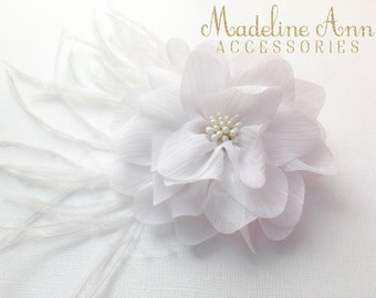 White Hair Flower, Ladies Fascinator Clip, Bridal Flower Clip, Girls Floral Clip, White Chiffon Flower, White Feather Clip,