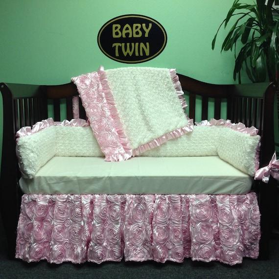 4pc Standard Crib Bedding Set Pink Rosette