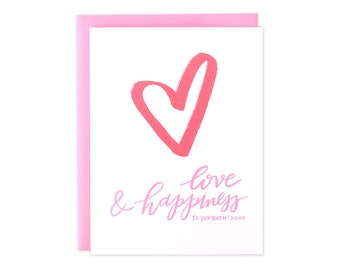 Heart Wedding Card, Love and Happiness Wedding Card, Congrats Wedding Card, Congrats Couple Wedding Card, Mr & Mrs Card, Engagement Card