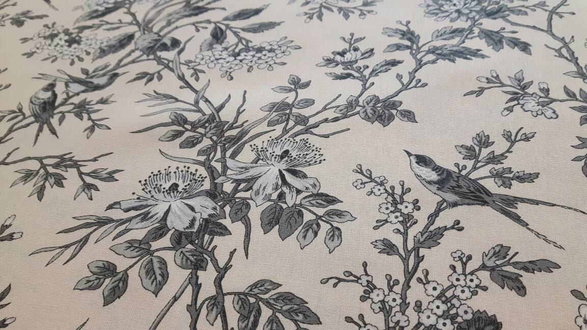 Toile De Birds Fabric 280 Cm 110 Wide Grey