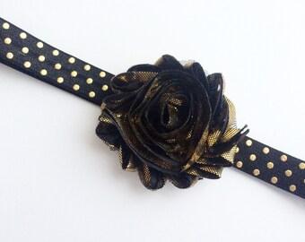 Gold Flower Headband - Black and Gold Headband - Black and Gold Party Headband for Girl - Metallic Gold Head Band - Baby Flower Headband