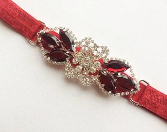 Prom Headband - The Great Gatsby Headband - Downtown Abbey Headband for Women - Red 1920s Headband - Gatsby Headband for Women and Teens