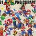 Super Mario Bros Cliparts, 61 Images in PNG Transparent Background, Printable Digital Graphics