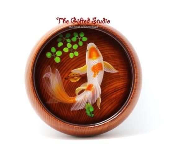 Resin fish artwrokresin 3d goldfish paintings handmade for Resin koi fish