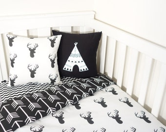 Black and white deer head and arrows nursery set