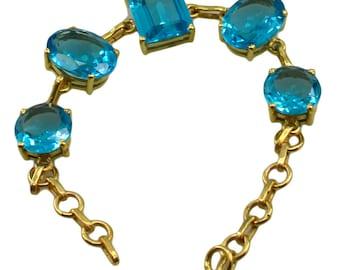 Riyo A Blue Topaz Cz  18kt Gold Plated Savvy Bracelet W 7.5in Gpbrabtcz-92003