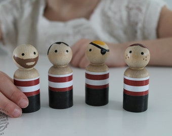 Peg Doll, Pirate Peg People, Pirate Peg Wooden Play Doll Set