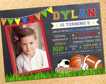 Sports Chalkboard Birthday Party Photo Invitation - Customizable - Printable - DIY