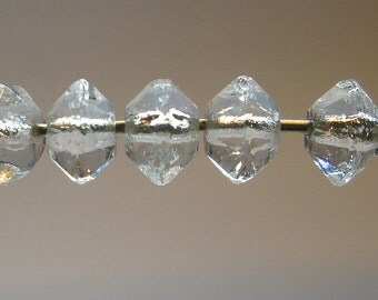 25 Vintage Clear Faceted Glass Beads