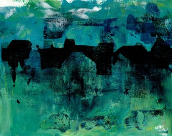 Limited Edition Print of original Acrylic Abstract Artwork - Cityscape, city, blue, green, tourquoise