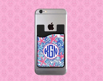 Monogrammed Personalized Cell Phone Card Caddy - Phone Wallet Card Holder - Monogram Gifts Monogram ID Credit Card - Lilly Pulitzer Inspired