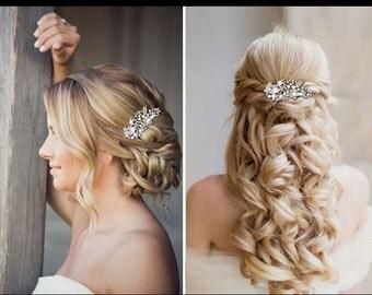 Bridal Wedding Party Flower Pearl Hair Comb Clip Diamante Crystal Rhinestone