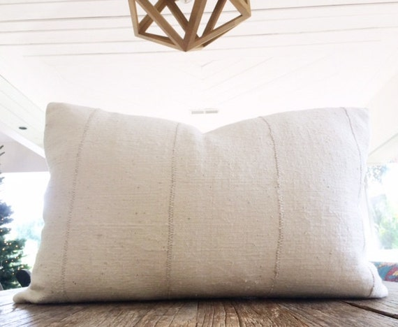 Authentic African White Mudcloth Textile Lumbar Pillow Cover 14x24