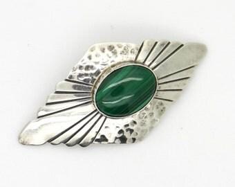 Vintage Native American Navajo Sterling Silver Green Malachite DLF Brooch - Art Deco Style Artisan Jewellery - Hammered Silver Brooch