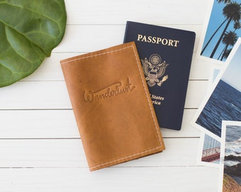 Personalized Wanderlust Embossed Design Leather Passport Wallet, Travel Wallet, Passport Case, Graduation Gift, Personalized | The Armstrong