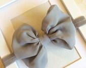 Grey chiffon bow headband,grey bow,grey headband,baby bow,baby headbands,infant headbands,girls headbands,toddler headband,chiffon bow