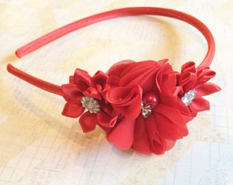 Hard red headband,holiday headband,flower girl headband,flower girl,satin headband,girls headband
