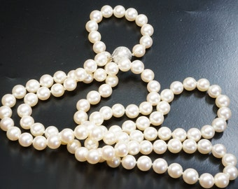 Freshwater Pearl Necklace - Long White Pearl Necklace - Double Wrap Pearl Necklace - Pearl Jewelry - Anniversary Gift - Bridal Jewelry