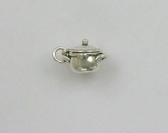Sterling Silver Kettle or Stock Pot Charm,   - mov168