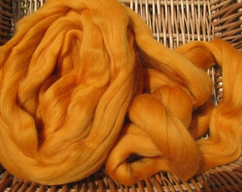 Merino Wool Roving/top 64's 23 Microns - MARIGOLD. For Spinning,Wet or Needle Felting, Craft Work.