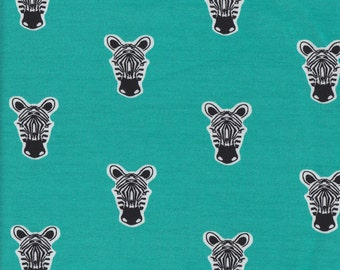 Zippy Zebra - Turquoise - Verhees French Terry Knit