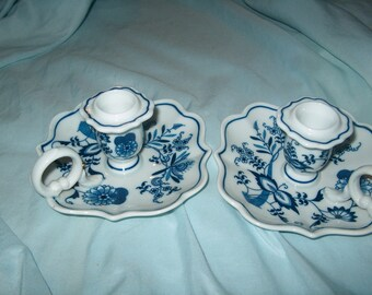 Pair of Blue Danube Japan Candleholders, WAS 30.00 - 20% = 24.00