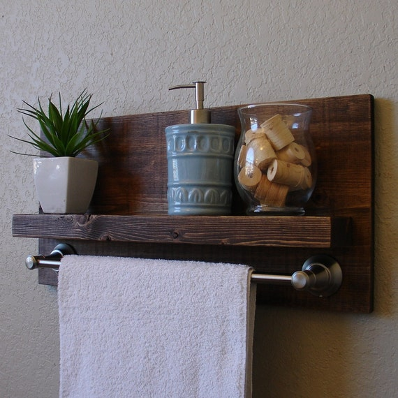 simply modern rustic bathroom shelf w 18 brushed nickel. Black Bedroom Furniture Sets. Home Design Ideas