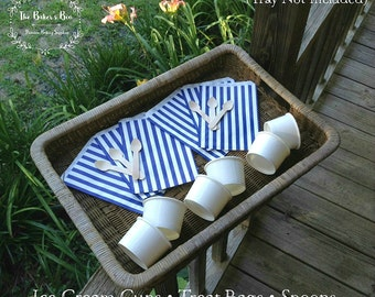 Set Of 6 • Ice Cream/Treat Set • Set Contains 6 Navy/White Treat Bags • 6 4-Oz White Ice Cream Cups • 6 Taster Spoons • Cook Outs • Birthday