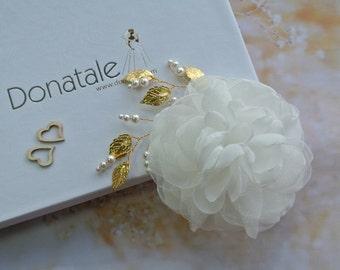Wedding hair flower, Bridal hair piece, Flower fascinator,Bridal veil ,Bridal Flower, Wedding hair piece,Ivory Gold   headpiece- SUZY