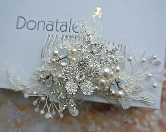 Ivory Wedding hair comb ,Wedding Hair Piece, Bridal Hair Piece, Bridal Hair Accessories, Bridal Hair Comb, Opal hair piece -LEAH
