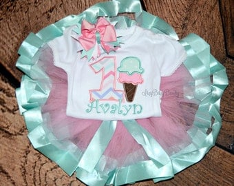 First birthday ice cream TUTU outfit embroidered personalized custom name mint and pink